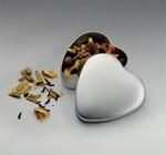 Zilveren blikje hartvorm met 6 verschillende Blooming-teas 1 stuk